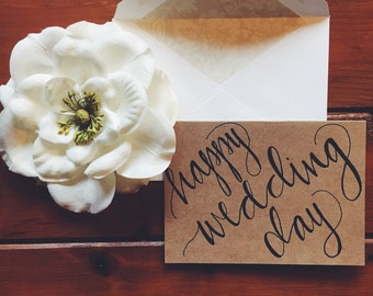 hand-lettered happy wedding day card