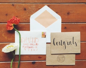 hand-lettered congrats card