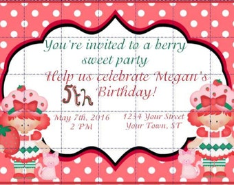 Faux Strawberry Shortcake Birthday Party Invitation Template