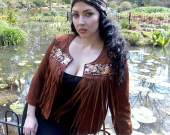 Brown and Sequin Tassel Jacket - Small