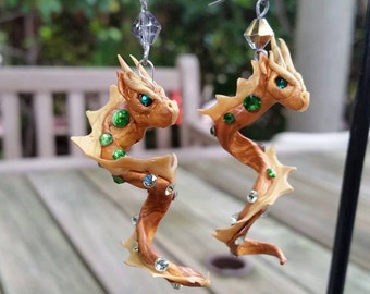 Golden and Green Dragon Earrings