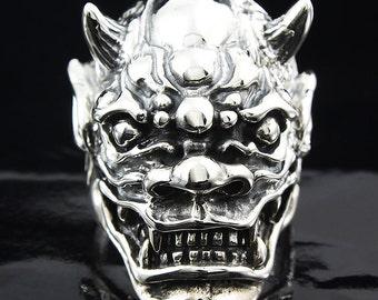Oni Demon Japan Devil Silver Ring 925