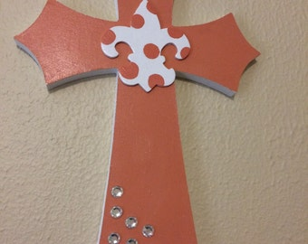 Peachy Poka-Dot Wooden Cross