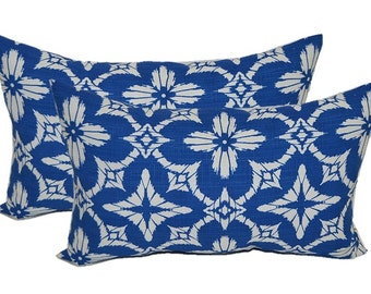 SET OF 2 Indoor / Outdoor Rectangle / Lumbar Decorative Throw Pillows - Richloom Aspidoras Cobalt - Royal Blue / White Geometric Sunburst