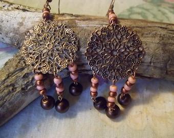 Copper/Brown Dangle Earrings