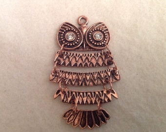 5 Piece Swinging Owl Pendant in Red Copper