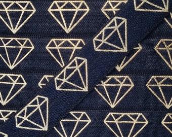 BLACK Gold Diamond  Fold Over Elastic