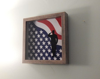 Hand Painted Soldier on Shadow Box