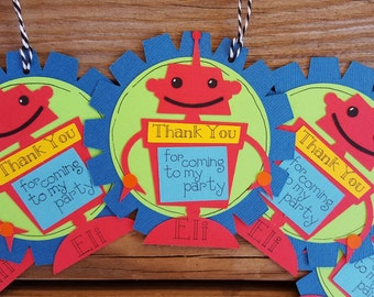 Robot Favor Tag, Robot Thank you  tag
