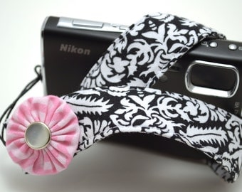 Black and White Damask with Chevron Pink Flower - Padded Camera Wrist Strap
