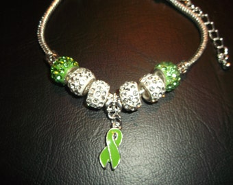 Silver Lyme Disease Green Ribbon Bracelet, Green Crystal and silver beads, silver  with green crystals, 7.5 inches adjustable