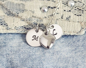 Silver Handstamped Heart Necklace, Initial Pendants with Heart, Personalized Initial Necklace, Personalized Jewelry,Monogram,Initial Jewelry