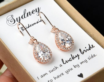Blush Bridal Earrings Bridesmaid Gift Wedding Earrings Bridal Jewelry Rose Gold clear white cubic zirconia Crystal tear drop Wedding Earring