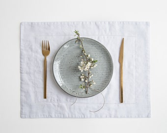 White Vintage Linen Placemat With Hemstitch