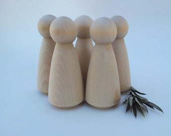 Wooden Peg Dolls / 5 Brides / 5 Grandma Peg People / Unfinished Maple Ready to Paint