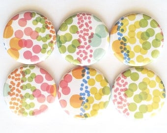 Magnets, Polka Dots, Refrigerator Magnets, Fridge Magnets, Fun Magnets, School, Office, Home, Cute Gift, Teacher, Colorful Magnets, Set of 6