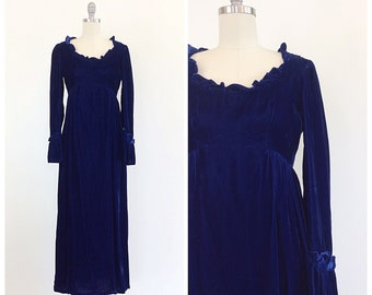 70s Lorrie Deb Blue Velvet Maxi Dress - 1970s Vintage Bell Sleeve Bohemian Evening Gown - Small - Size 4