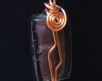 Pendant - Amethyst Foil Glass and Copper Wire Wrapped Pendant - FREE SHIPPING