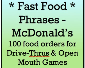 Mouth Game Phrases - FAST FOOD PHRASES for MacDonald's - Watch Ya Mouth and Open Mouth Games - 100 Printable Phrase Cards