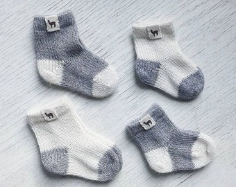 Baby alpaca newborn socks knitted ready to ship baby kids alpaca wool socks gray white baby shower gift baby gift knit socks wool socks