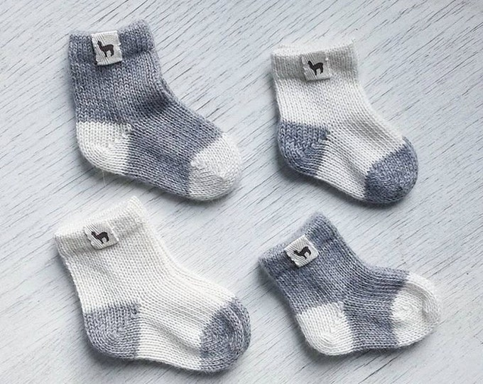 Featured listing image: Baby alpaca newborn socks knitted ready to ship baby kids alpaca wool socks gray white baby shower gift baby gift knit socks wool socks