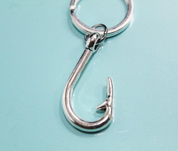 Nautical keychain fishhook keychain initial keychain silver for Fish hook keychain