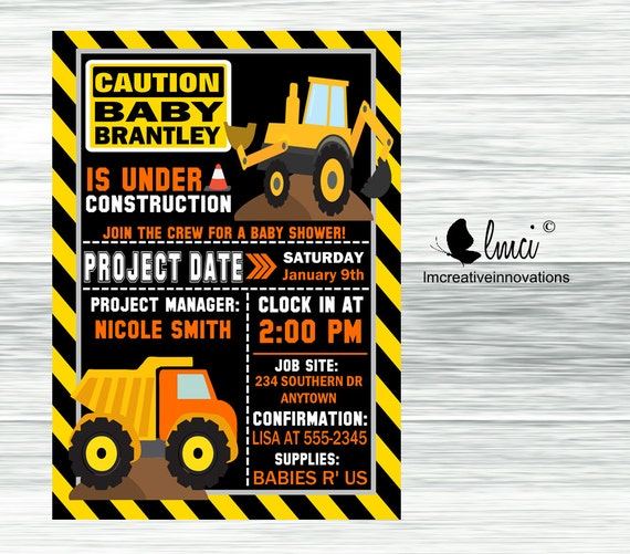 construction baby shower invitation digital file
