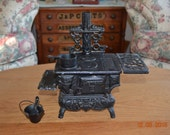 Vintage Salesmans Sample Stove American Cast iron Stove Childrens Toy Cast Iron Toy Stove Antique Wood Stove Includes Accessories Pictured