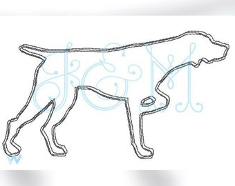 German Short Haired Pointer Scribble Dog Embroidery Design
