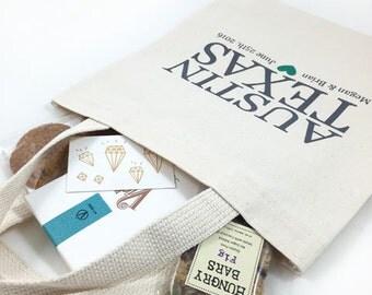Set of 12 Austin, TX Custom Screen Printed Tote Bags for Welcoming Wedding Guests