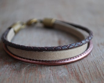 Glazed Grape * Braided leather bracelet // womens leather bracelet // casual, modern, minimalist //  gifts for her // fall winter trends