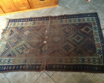 """Well Worn Shabby Antique Rug, 48"""" by 78"""""""