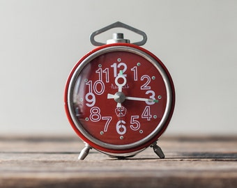 Working Soviet Vintage Alarm Clock - Red Clock, Retro Clock