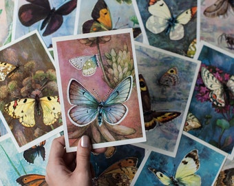 Set of 16 Vintage Butterfly Cards - Butterfly Illustrations, Butterfly Prints