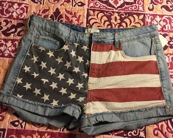 Vintage Wash American Flag Shorts