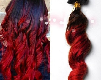 Red hair extensions etsy clip in virgin human hair extensions 1b natural black red scarlet ombre pmusecretfo Gallery