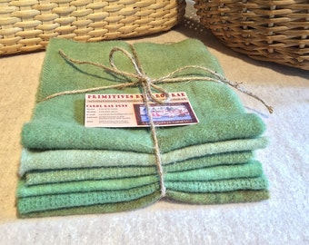 Wool Fabric for Rug Hooking and Applique -  (6) One Sixteenth  Yard Pieces of  New Grass Green W198