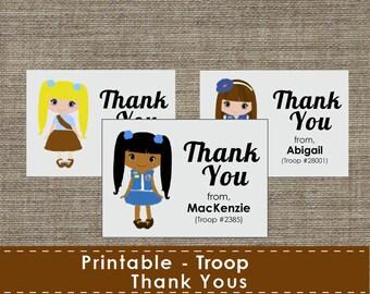 Troop - Girl - Thank You Cards - DIY - Printable