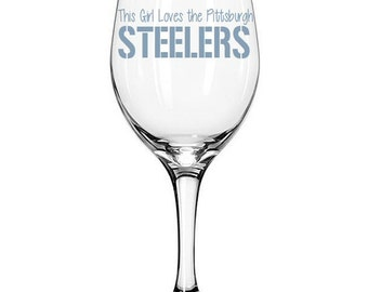 Pittsburgh Steelers Football Team Etched Wine Glass - Two Designs to choose from!
