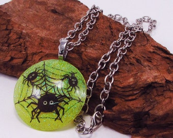 Spiders and Web, Round Spider Pendant, Resin, Fun Halloween, Yellow Glitter Spider Necklace