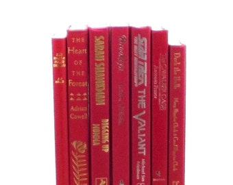 Red books, fire engine red books, decorative books, red book collection, red wedding decor, tomato red book set, red book set, book decor