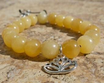 Lotus Charm Yellow Calcite Wrist Mala, Bracelet. Uplifting, Willpower, Deep Relaxation. Adjustable. Prayer beads, Yoga Bracelet