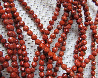 3mm Red Jasper Faceted Round Bead S25