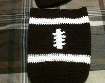 Football hat and bag for baby.