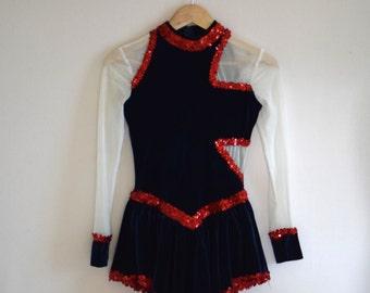 Blue Velvet Sequin Cabaret Leotard/ Skirted Showgirl Bodysuit/ Algy Dance Costume/ Womens Size Small