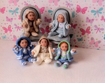 Dolls House Miniature OOAK Awake Baby Boy in Pram Suit