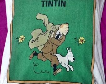 Pillowcase Tintin vintage original both sides with design