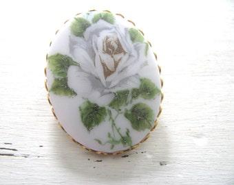 Vintage Hand Painted White Rose Porcelain Brooch