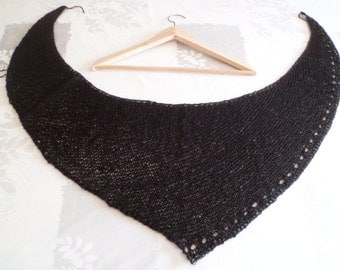 asymmetrical Black wool shawl