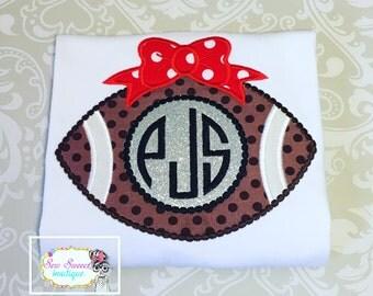 football girl, girls football shirt, football season, football bow, personalized